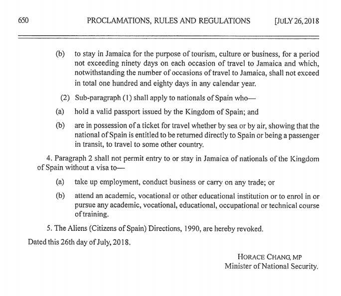 Prolamation rules and regulations jamaica gazete supplement2